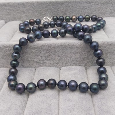 Necklace of black pearls 63 cm PNS06