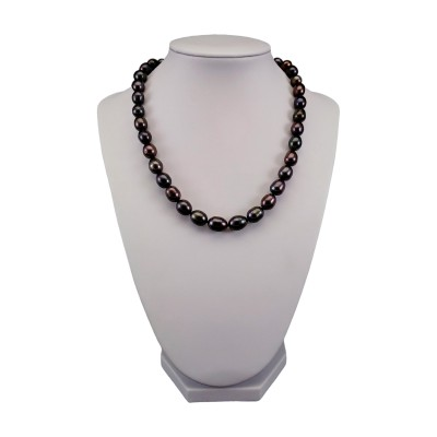 Necklace made of real black rice pearls 43,5 cm PNS12