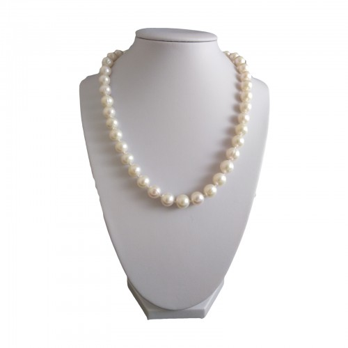 Necklace made of real white round pearls 46 cm PNS13-B