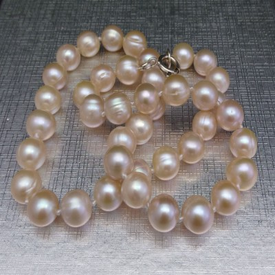 Classic necklace made of real round pink pearls 46 cm PNS13-C