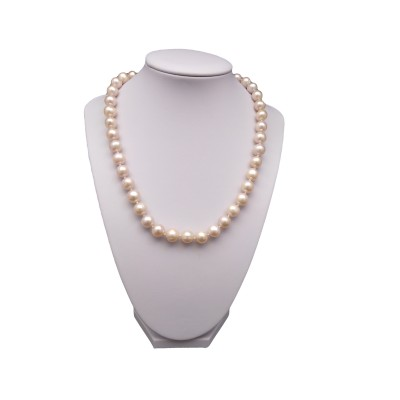 Necklace - pink pearls round 46 cm PNS13-C