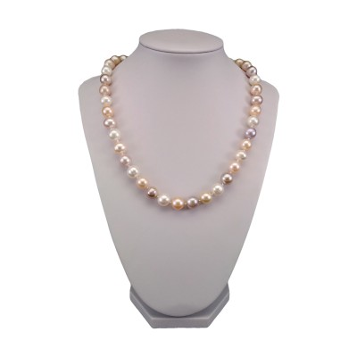 Necklace made of real multicolour round pearls 46 cm PNS13-MIX