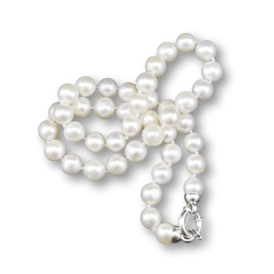 Necklace made of real white round pearls 49 cm PNS19
