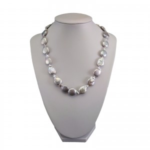 Necklace made of real silver pearls coin 45 cm PNS21-B