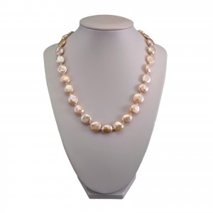 Real pink pearl necklace coin 46 cm PNS21-D