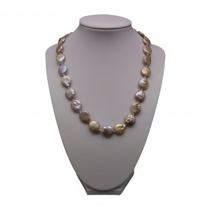 Necklace with real pearls pink coin petals 46 cm PNS21