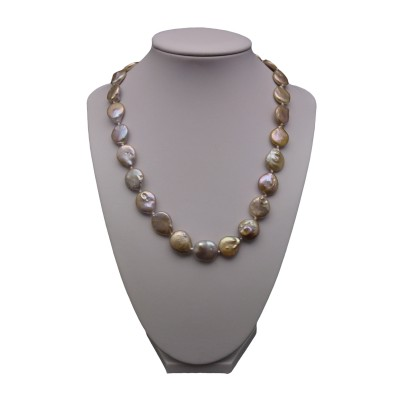 Necklace with real pearls pink coin petals 45 cm PNS21