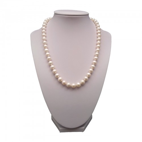 Necklace made of real white round pearls 45 cm PNS27-A