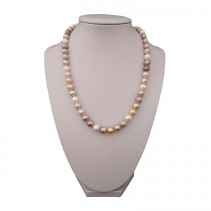 Necklace with real round pearls color mix 48 cm PNS27-C