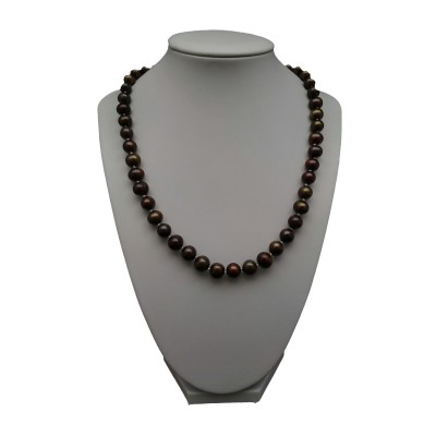 Necklace - knots - brown pearls round PES28-1