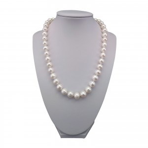 Classic necklace made of real white round pearls 49 cm PNS29-A