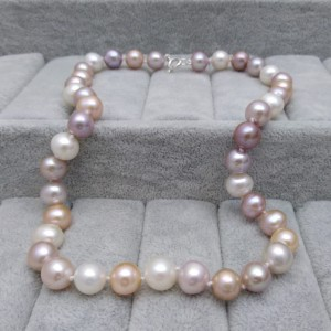 Silver necklace with real round pearls color mix 46 cm PNS29-C