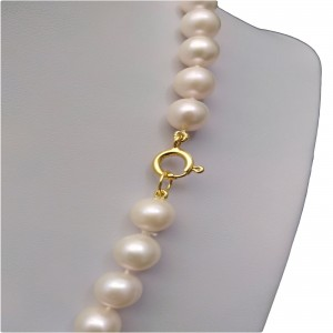 Necklace made of real white round pearls 46 cm PNS31