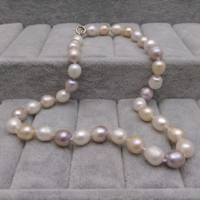Necklace with real multicolour pearls big rice 47 cm PNS36