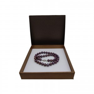 Necklace of real round eggplant pearls 48 cm PNS37