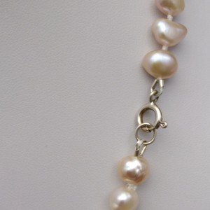 Necklace made of real pink corn pearls 47 cm PNS38-A
