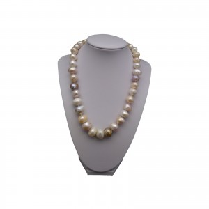Necklace with real pearls baroque color mix 46 cm PNS51