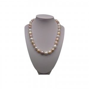 Silver necklace with real baroque pearls color mix 45 cm PGN07