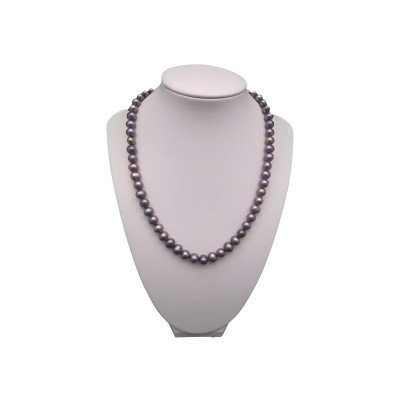 Classic necklace made of real graphite pearls 46 cm PGN34