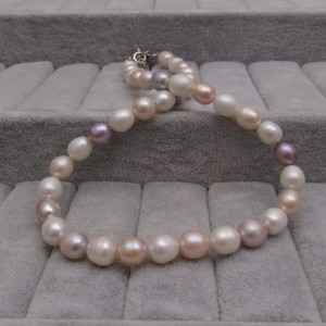 Silver necklace with real pearls rice color mix 45 cm PGN36