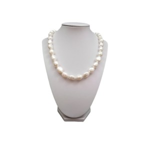 Silver necklace with real white baroque pearls 47,5 cm PGN39-1
