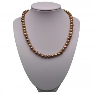 A necklace of real golden brown corn pearls 44 cm  PE46