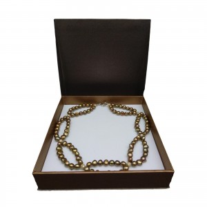 Decorative necklace made of real golden-brown corn pearls 46 cm PGNM46