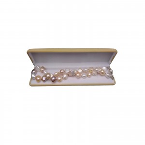 Silver necklace with real baroque pearls with gold elements 585, 49 cm PN07