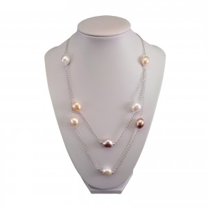 Necklace made of genuine multi-colored baroque pearls PN07-1