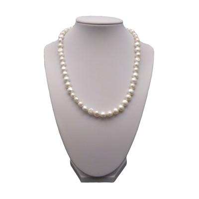 A necklace of white corn pearls 45 cm PN09-A