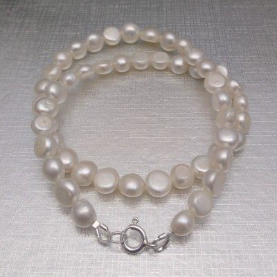 Silver necklace with real white corn pearls 45 cm PN09-A