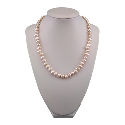 Necklace of real pink corn pearls 44,5 cm PN10-B