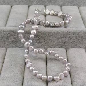 Silver necklace with real corn pearls 44,5 cm PN10-C