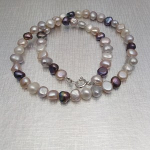 Necklace made of real multi-colored pearls 45 cm PN10 MIX