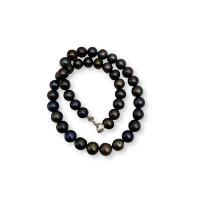Necklace of real round eggplant pearls 44 cm PN14