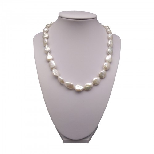 Silver necklace with real white coin pearls 45 cm PGN21-A