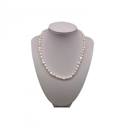 Necklace made of real white rice pearls 45 cm PN35-A