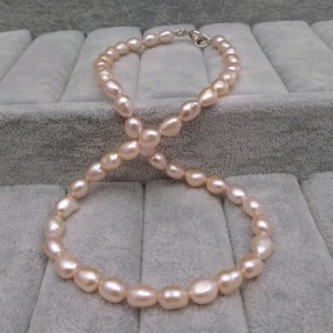 A necklace made of real pearls of pink rice 46 cm PN35-B