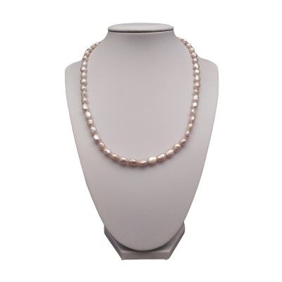 Necklace made of real pearls rice with a pink color 42,5 cm PN35-C