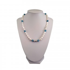 Necklace made of real pearls white rice with turquoise jade 45 cm PN35-KA20