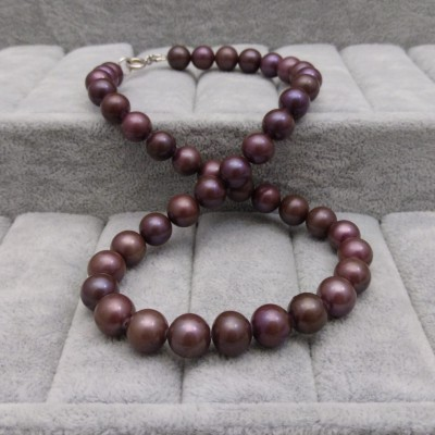 Necklace - round pearls- eggplant 45cm PGN37