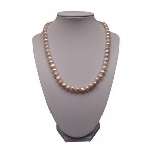 Necklace made of real pink corn pearls 45 cm PN38-A