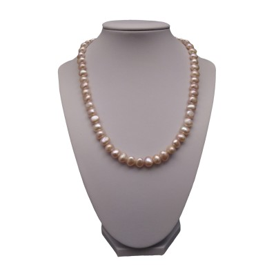 A necklace of pink corn pearls 45 cm PN38-A