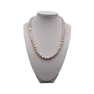 Necklace made of real corn pearls of the color of pink 45 cm PN38-B