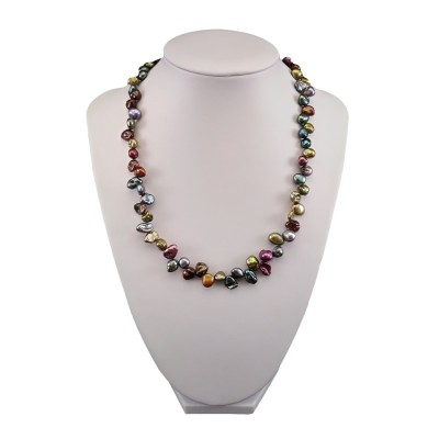 Necklace made of real multi-colored pearls with irregular shapes 44.5 cm PN40
