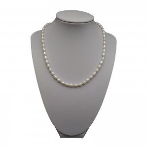 Silver necklace with real white rice pearls 45cm PN41