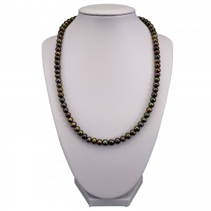 Necklace made of real round pearls with green color 50 cm PN44