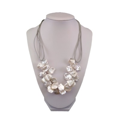 Necklace made of real white keshi pearls on a thong 48 cm PN49-1