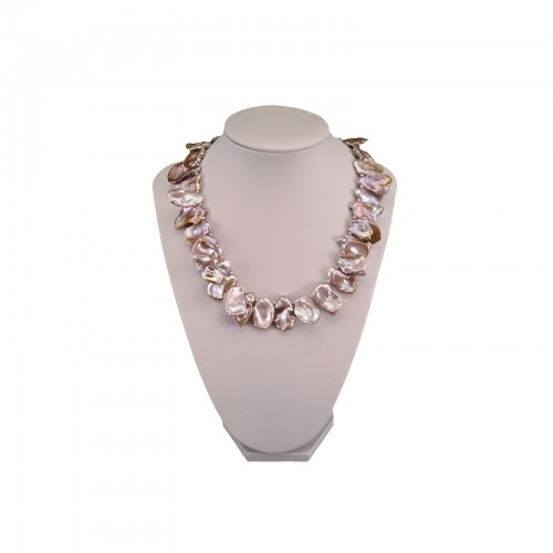 Decorative necklace made of real pink keshi pearls, 40 cm PN50-B