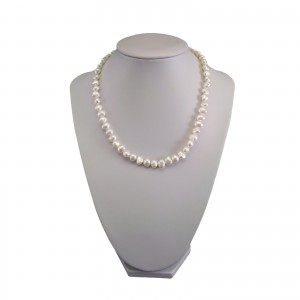 Necklace made of real white pearls corn 40 cm PN52